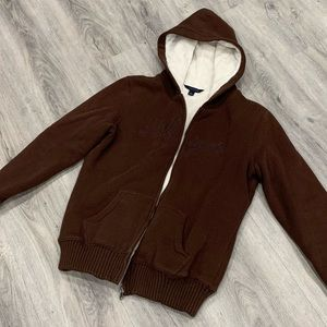 Tommy Hilfiger Casual Brown Zip-Up Sweater